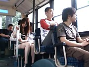 Yui Tatsumi Asian has ass hole and nooky rubbed in bus with men