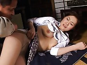 Mina Toujou Asian in white scanty has big and round jugs fondled
