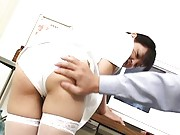 Miku Hoshino Asian is touched over her white nurse  sexy scanty