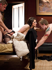 Bobbi Starr cuckolds her husband with her ex boyfriend making her husband clean her cum covered feet with his mouth!