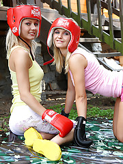 Lovely euro teen Pinky June boxing with her blond friend Bella