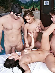 Fucking horny euro babes fucked and cumfaced in these hot pool sex orgys
