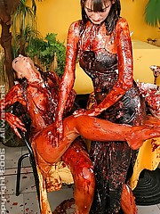 Lesbian babes getting messy with sundaes