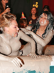 Babes getting tittys cover in thick grey mud