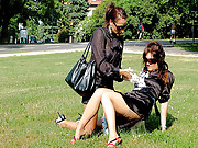 Hotties publicly screwing outside with cream