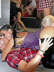 Hot drunk party babes sucking massive peckers
