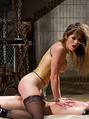 Two wicked hot mistresses plug up slaveboy
