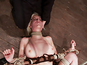 Cherry Torn with a crotch rope, being caned, slapped, and fisted!