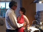 Senior shagging beauty doggystyle in kitchen