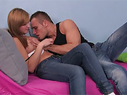 Horny and pretty teenager shagging a fellow
