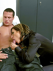 Lucky fellow drilling two clothed chicks hard