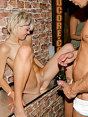 Intoxicated babes shagging dudes at the club