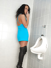 Horny chick banged and pissed in a restroom