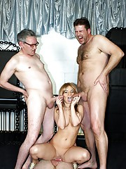 Three old seniors shagging a younger hot babe