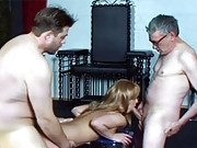 Three guys jizzing on a cute younger chick