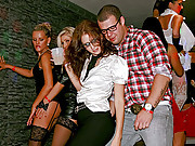 Horny lesbians shagging publicly at a club