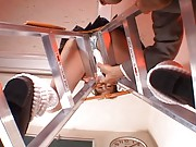 Rei Aoi Asian slutty has cunt fucked with dildo sitting on ladder