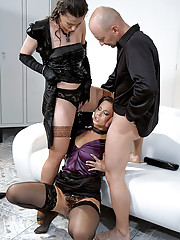 Pissing on his horny but clothed secretaries