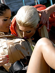 Clothed lesbians love urinating on each other