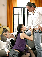 Clothed sweethearts love pissing on a fellow