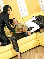Clothed pretty lesbians stroking each other