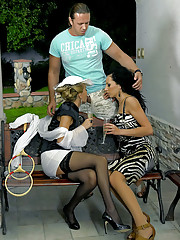 A horny clothed teenage threesome shagging