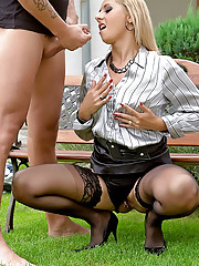 Bald dude banging a gorgeous clothed beauty