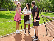 Sporty sweethearts drilled by a guy outdoors