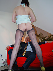 Crazy horny redhead screws a naked bald dude
