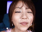 Saki Ninomiya Asian has face covered with cum from two shlongs