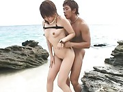 Rino Kamiya Asian with round tits gets nooky nailed on the beach