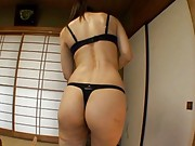 Norika Minami Asian shows hot behind in and without black thong