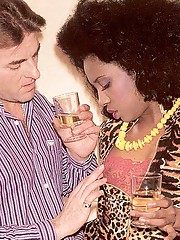 Black eighties lady loves a big white cock