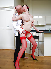 Redhead MILF sucking cock and fucking a fan