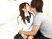 Sarah pretty schoolgirl kissing her boyfriend in the bedroom