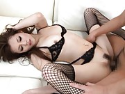 Ameri Ichinose sexy babe in fishnets gets rear stand fucking