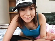 Hinna Ohtsuka Asian with nasty attitude plays with dick in pants