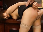 Pine Shizuku Asian in stockings has beaver rubbed from behind