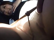 Sae Aihara Asian rubs her cunt is stockings while she sucks dick