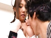 Japanese AV Model and another nurse have jugs sucked by patient