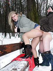 Chick fucking a very old senior in the snow