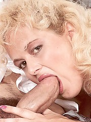 Blonde seventies lady loves two cocks at once