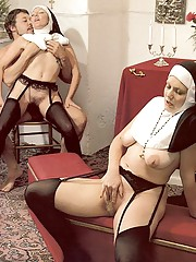 Two hairy seventies nuns stuffed in all holes