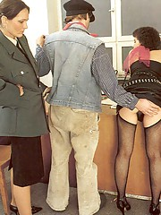 Seventies cop inspecting a victim her slit