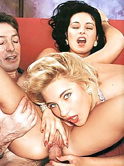 Two horny eighties couples having dirty sex