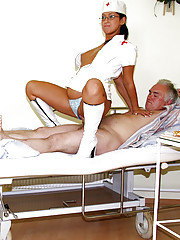 Old senior patient fucked nurse and his wife