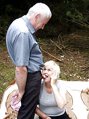 Old guy fucks a horny willing girl outside