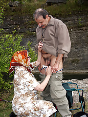 Horny senior hitchhiker screwing young girl