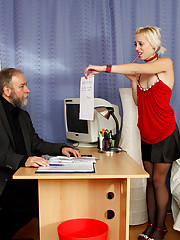 Secretary asks her horny old boss for raise