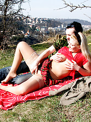 Shagging an old horny hitchhiker in the woods